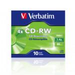 Оптический привод Verbatim Диск CD-RW 700Mb 4x Jewel case (10шт)