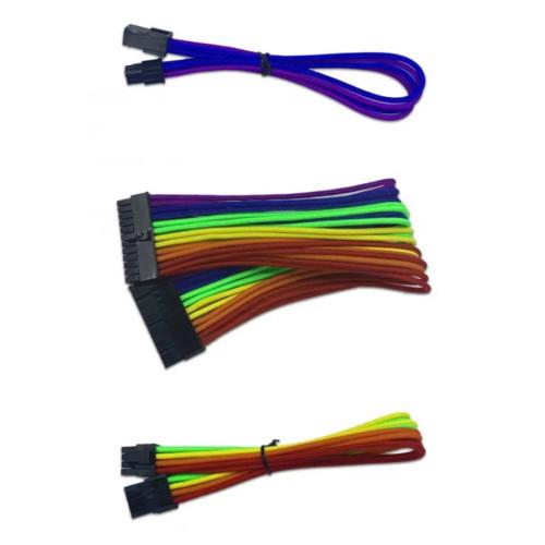 Кабель питания NO NAME ПК RAINBOW папа-мама, 24Pin*1, 8Pin*2, 4Pin*2, (Cable-pins RAINBOW)