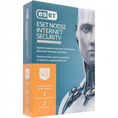 Антивирус Eset NOD32 Internet Security Platinum Edition, подписка на 2 года на 3 устройства (NOD32-EIS-1220(BOХ)-2-3 KZ)