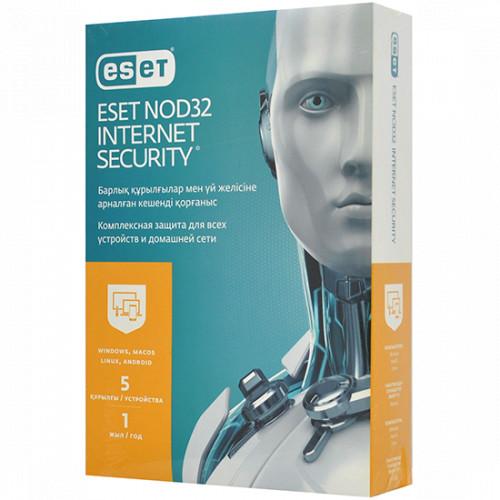 Антивирус Eset NOD32 Internet Security, подписка на 1 год на 5 устройств (NOD32-EIS-NS(BOХ)-1-5 KZ)