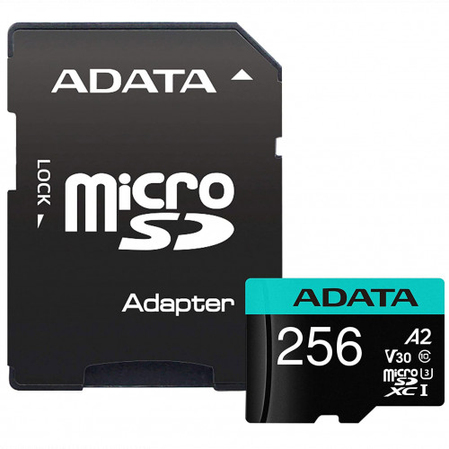 Флеш (Flash) карты ADATA microSDXC Class 10 + adapter SD (AUSDX256GUI3V30SA2-RA1)