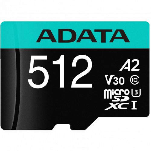 Флеш (Flash) карты ADATA microSDXC Class 10 + adapter SD (AUSDX512GUI3V30SA2-RA1)